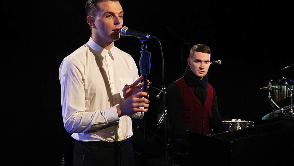 LONDON, ENGLAND - DECEMBER 15: Theo Hutchcraft and Adam Anderson of Hurts perform for a Biz Session on December 15, 2010 in L