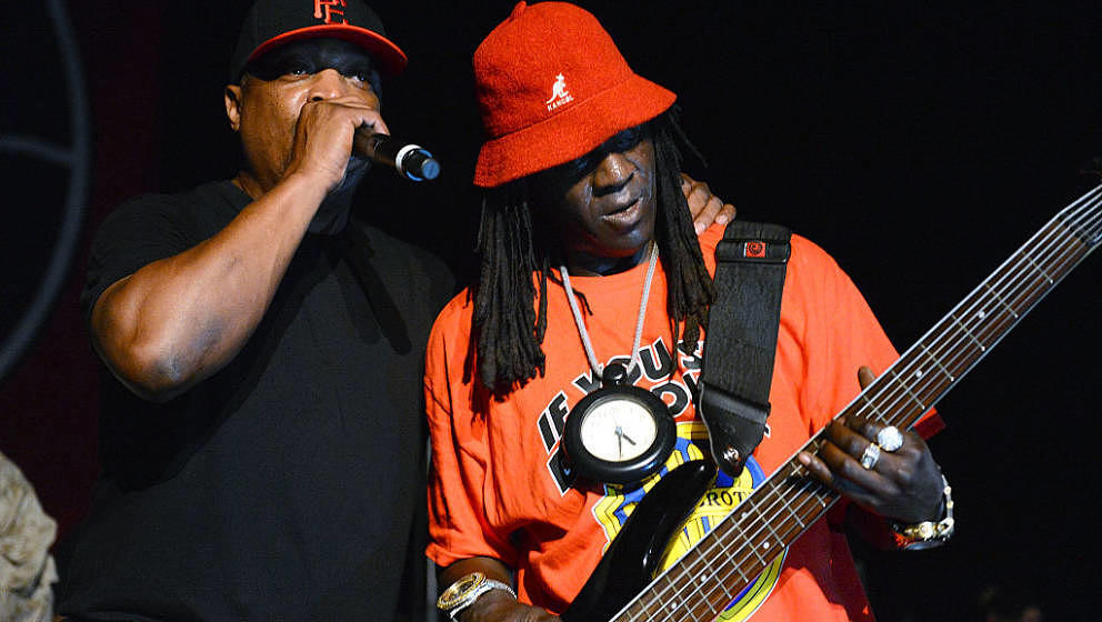 LOS ANGELES, CA - JULY 22:  (L-R) Chuck D and Flavor Flav of Public Enemy perform onstage at the Art of Rap festival at the H