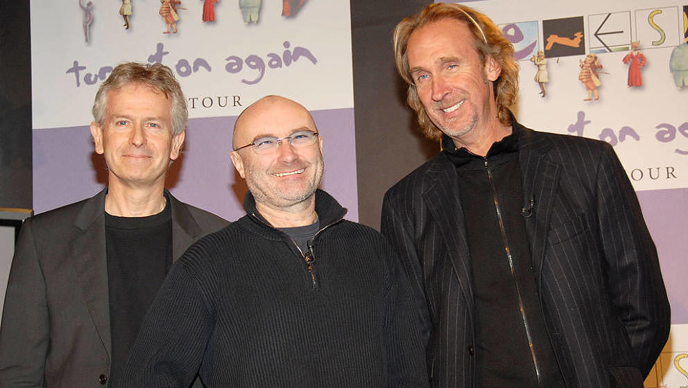 Tony Banks, Phil Collins and Mike Rutherford of Genesis (Photo by Kevin Mazur/WireImage for CPI Canada)