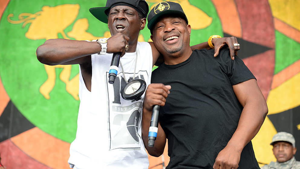 NEW ORLEANS, LA - APRIL 25: Chuck D and Flavor Flav of Public Enemy performs during the 2014 New Orleans Jazz & Heritage