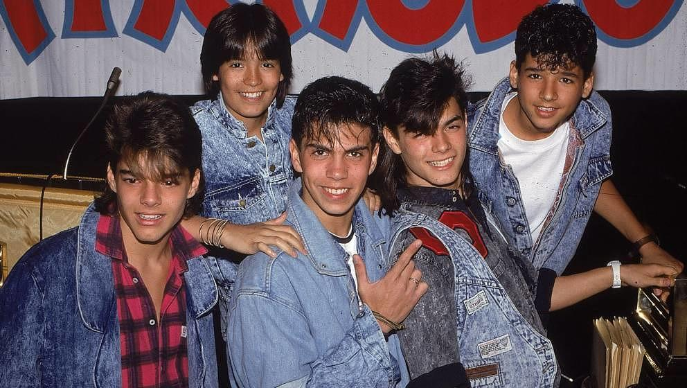 CIRCA MID 1980s:  Puerto Rican teen quintet 'Menudo'  pose for a mid 1980's portrait. Ricky Martin (far left) was a member fr