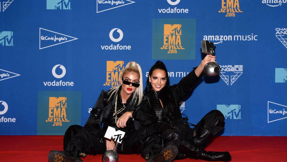 Loredana und Juju auf dem roten Teppich der MTV EMA Awards am 3. November 2019 in Sevilla in Spanien.