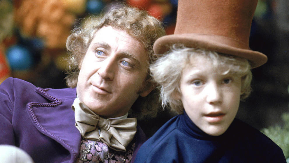 Gene Wilder as Willy Wonka and Peter Ostrum as Charlie Bucket on the set of the fantasy film 'Willy Wonka & the Chocolate