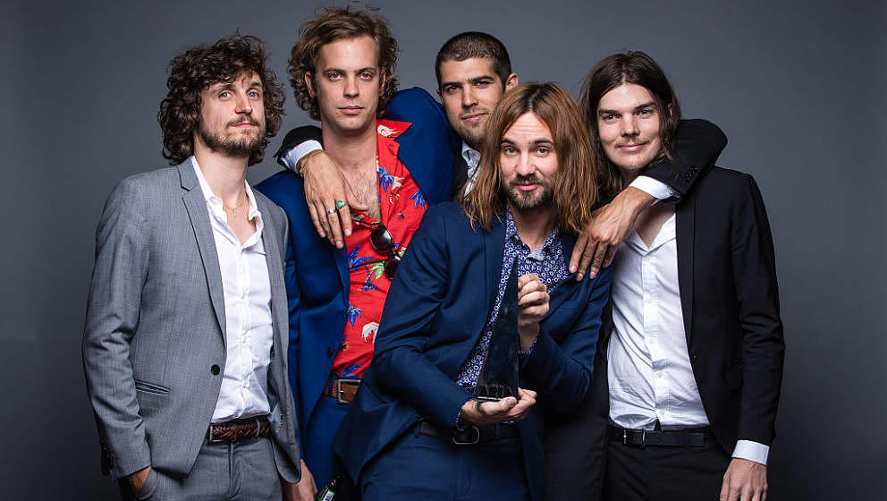 SYDNEY, AUSTRALIA - NOVEMBER 26:  (EXCLUSIVE COVERAGE) Tame Impala pose for a portrait with the ARIA for Album of the Year du