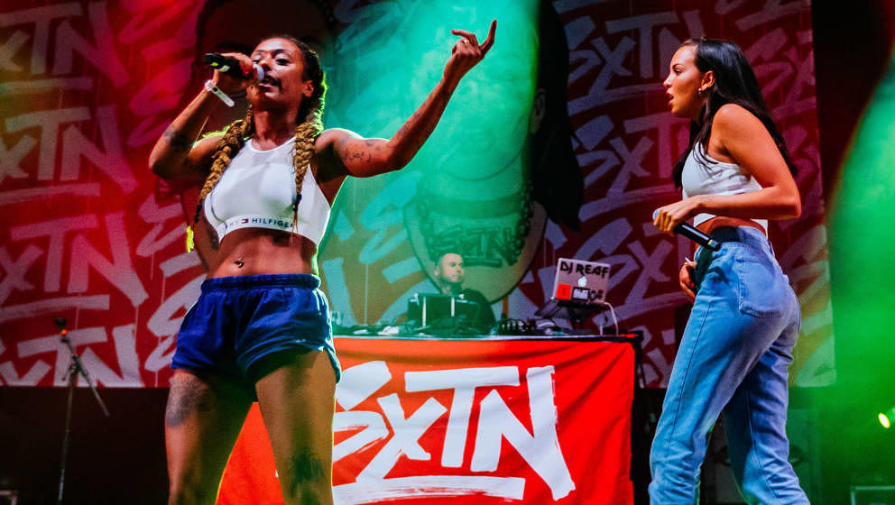 NEUHAUSEN, GERMANY - JUNE 24:  Nura (L) and Juju (R) of SXTN perform during the second day of the Southside festival on June