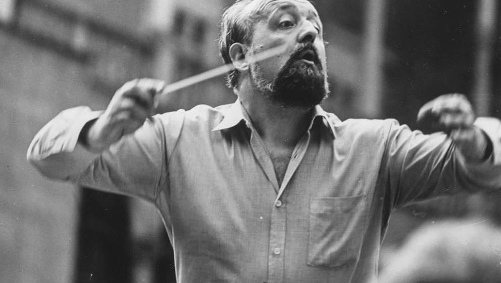 Polish composer Krzysztof Penderecki pictured conducting an orchestra, 1980. (Photo by Keystone/Hulton Archive/Getty Images)