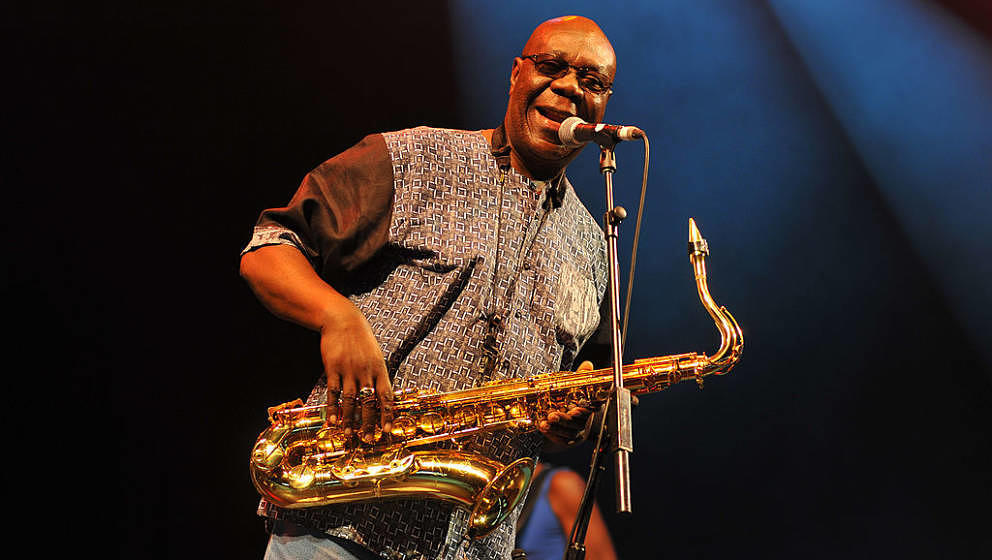 WILTSHIRE, UNITED KINGDOM - JULY 25: Manu Dibango performs on stage at the Womad Festival at Charlton Park on July 25, 2014 i