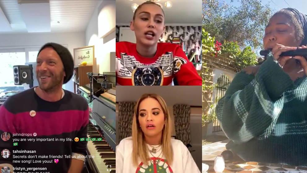 So sieht es aus, wenn Chris Martin und Lizzo von zuhause aus Musik für ihre Follower*innen machen und Miley Cyrus und Rita O