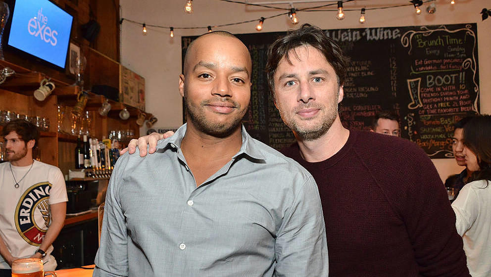 LOS ANGELES, CA - OCTOBER 27:  Donald Faison and Zach Braff attend 'The Exes' - Season 4, which premieres November 5 at 10:30