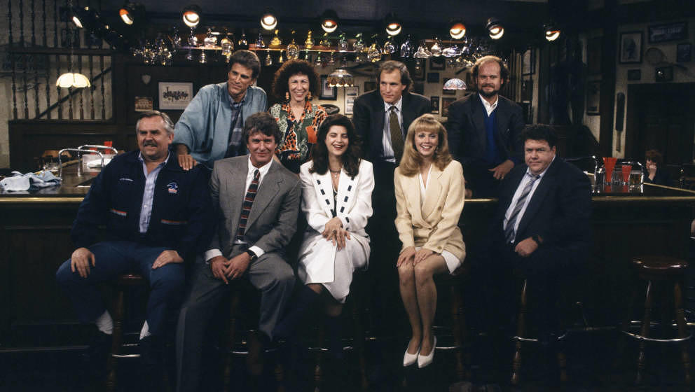 CHEERS -- 'One for the Road' Episode 25 -- Air Date 05/20/1993 -- Pictured: (Top, l-r) Ted Danson as Sam Malone, Rhea Perlman