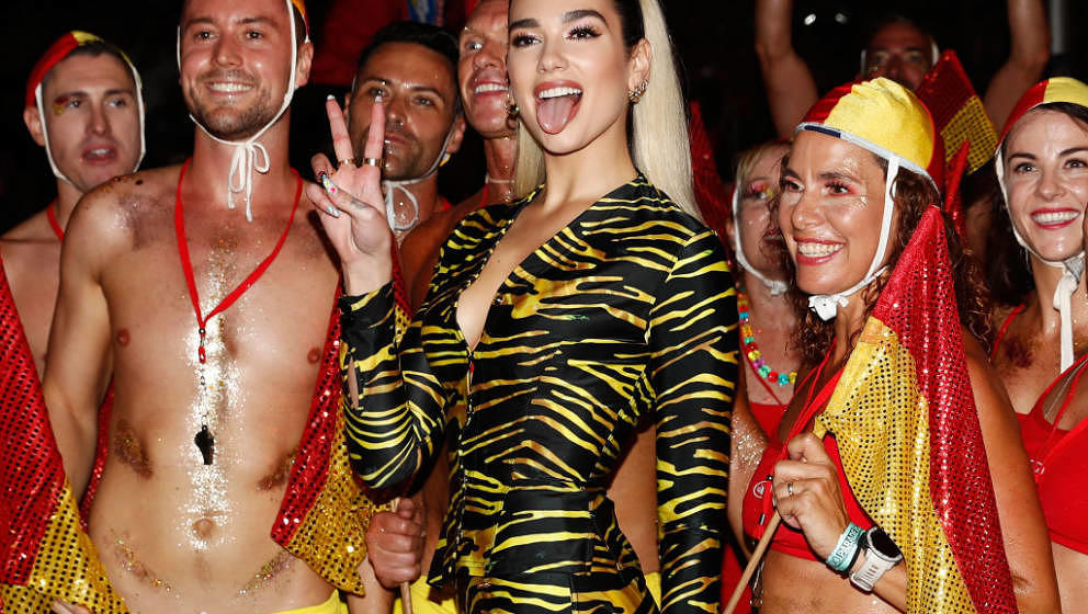 SYDNEY, AUSTRALIA - FEBRUARY 29: Dua Lipa poses for a photo during the 2020 Sydney Gay & Lesbian Mardi Gras Parade on Feb