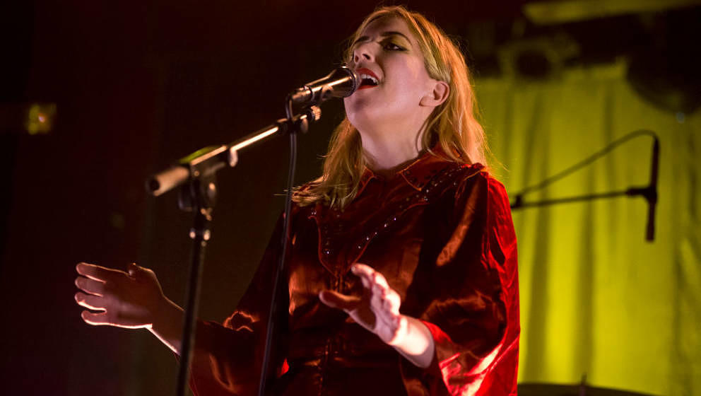 BARCELONA, SPAIN - APRIL 08:  Katie Stelmanis of Austra performs on stage at Sala Apolo on April 8, 2017 in Barcelona, Spain.