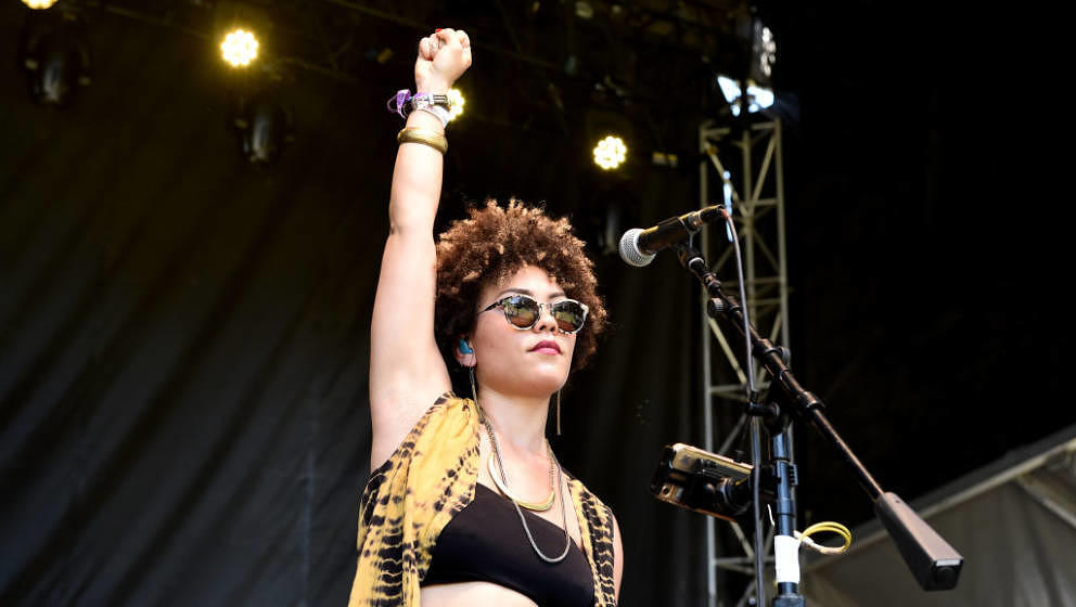 PASADENA, CA - JUNE 25:  Singer Madison McFerrin  performs on the Sycamore stage during Arroyo Seco Weekend at the Brookside