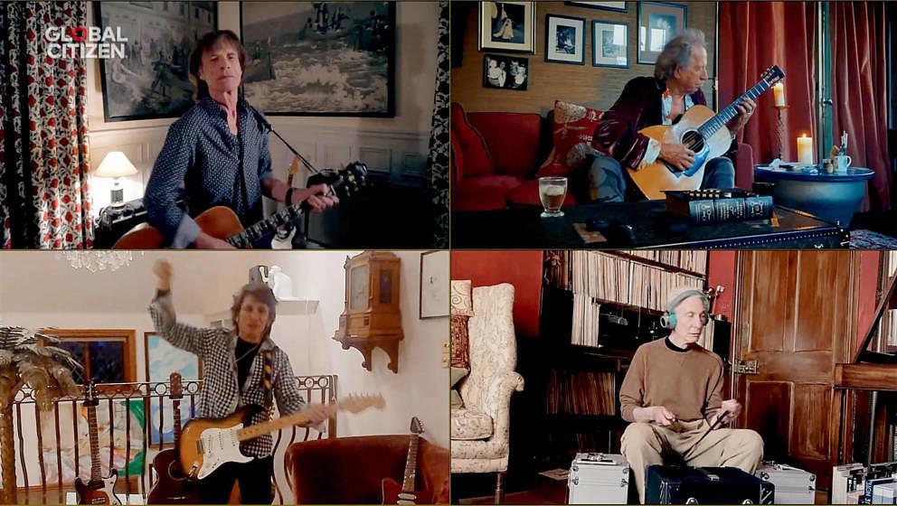 """The Rolling Stones am 18. April 2020 während des weltweit gestreamten Benefiz-Konzerts """"One World: Together At Home"""""""