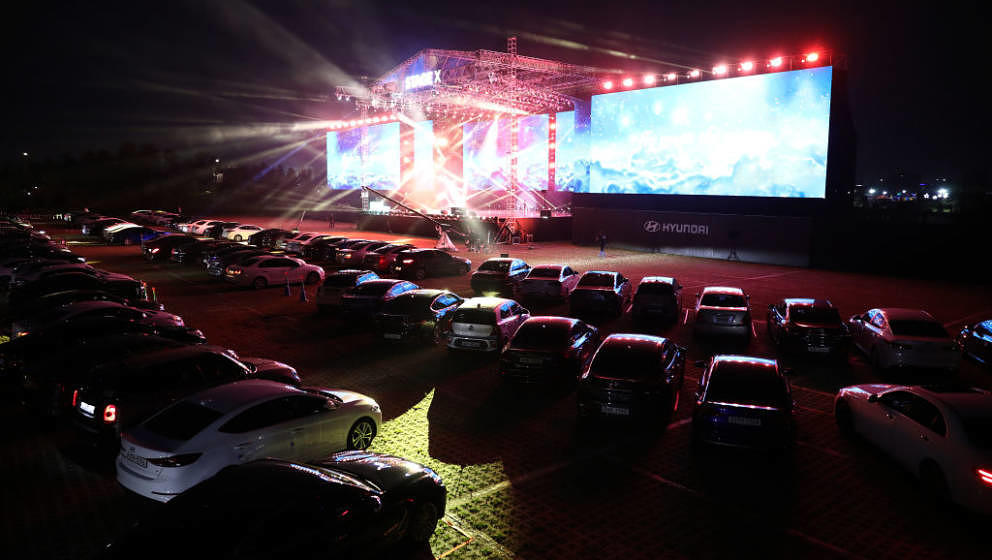 GOYANG, SOUTH KOREA - MAY 23: Cars are parked at a drive-in musical operation by Hyundai Motor at Stage X Drive-in Concert as