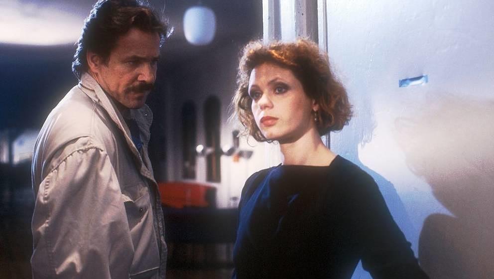 Götz George, Renate Krößner, ARD-Serie: 'Tatort' - Folge:'Gebrochene Blüten', Duisburg, 28.05.1986, Schauspieler, Schiman