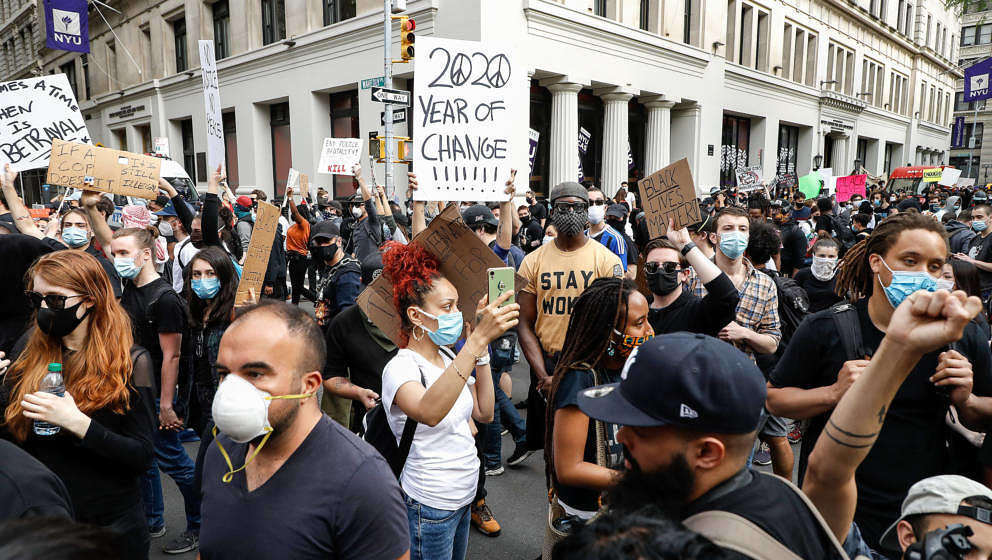 NEW YORK, UNITED STATES - 2020/06/01: Protesters gather at Washington Square Park as they take part during a demonstration in
