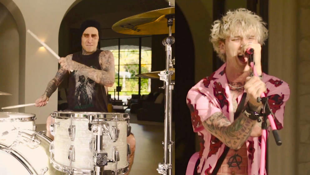 LOS ANGELES - MAY 6: Machine Gun Kelly and Travis Barker perform on THE LATE LATE SHOW WITH JAMES CORDEN, scheduled to air We