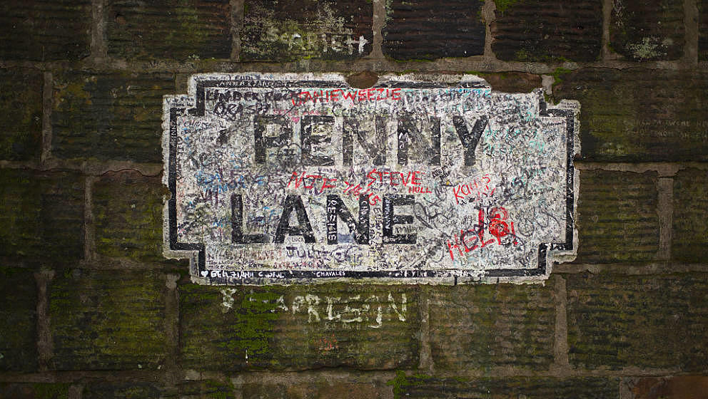 LIVERPOOL, ENGLAND - FEBRUARY 11:  The original Penny Lane street sign adorns a wall on the street the Beatles named one of t