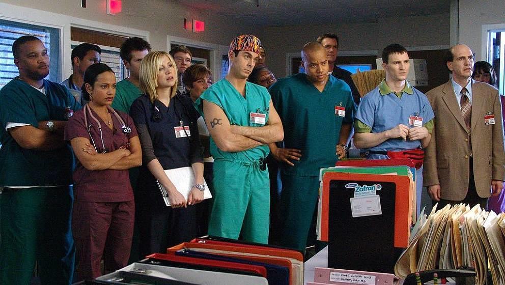 SCRUBS -- 'My Quarantine' Episode 16 -- Air Date 02/08/2005 --Pictured: (l-r) Judy Reyes as Nurse Carla Espinosa, Sarah Chalk