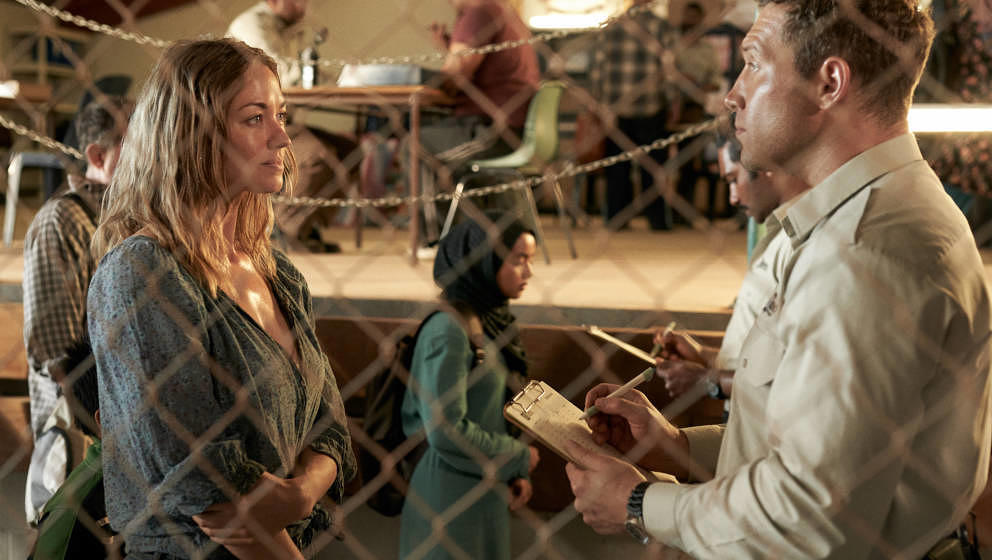 STATELESS (L to R) YVONNE STRAHOVSKI as SOFIE WERNER and JAI COURTNEY as CAM SANDFORD in episode 101 of STATELESS Cr. BEN KIN
