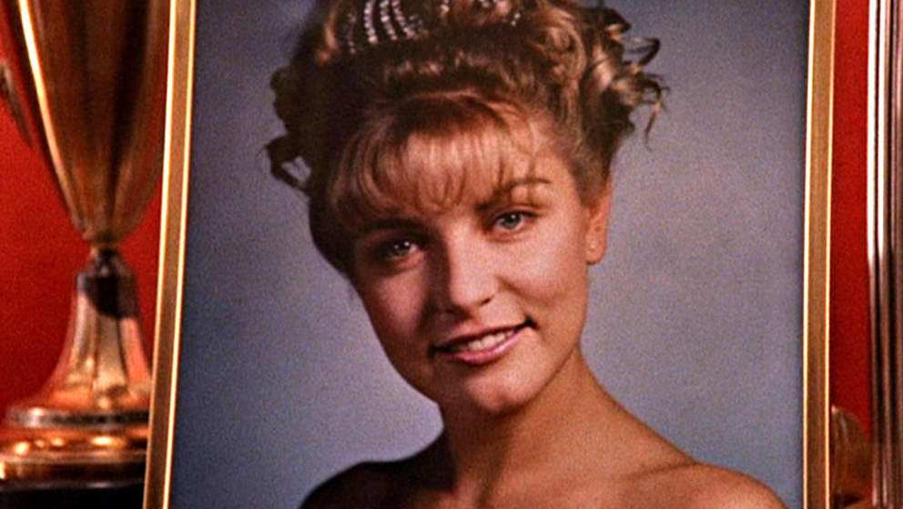 Close-up of a framed photograph of the character Laura Palmer (as portrayed by German-born American actress Sheryl Lee) as it