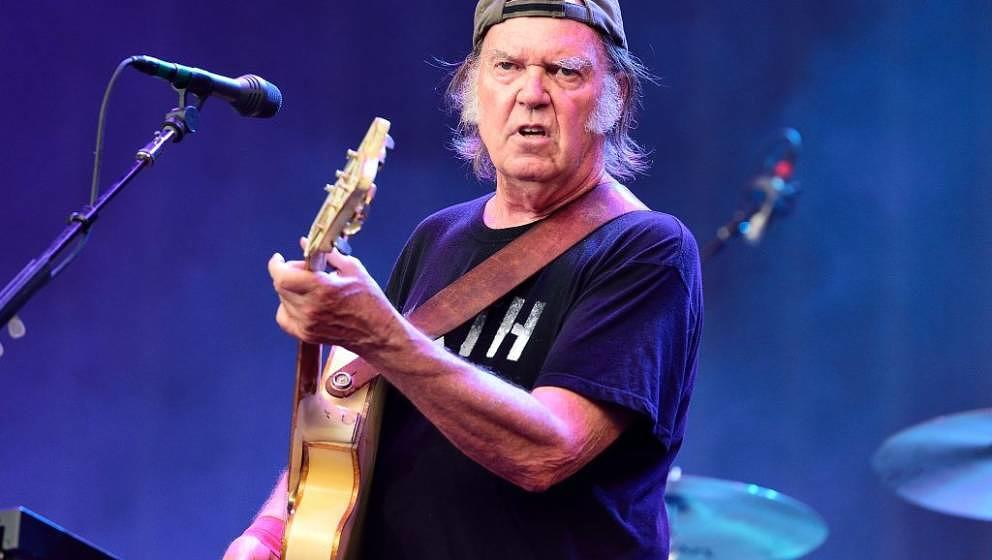 LONDON, UNITED KINGDOM - JULY 12: Neil Young of Neil Young and Crazy Horse performs on stage at British Summer Time Festival