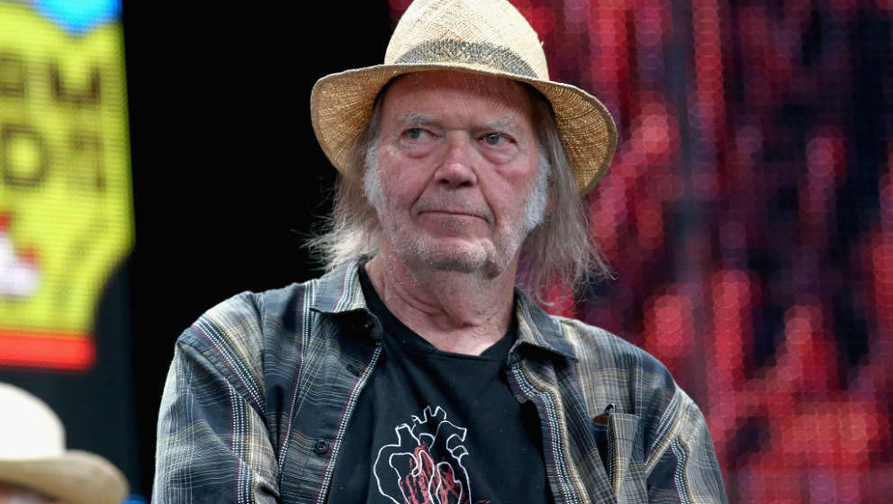 EAST TROY, WISCONSIN - SEPTEMBER 21:  Neil Young attends a press conference for Farm Aid 34 at Alpine Valley Music Theatre on