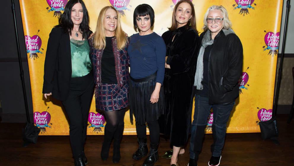 NEW YORK, NY - JANUARY 29: Kathy Valentine, Charlotte Caffey, Jane Wiedlin, Belinda Carlisle and Gina Schock of The Go-Go's a