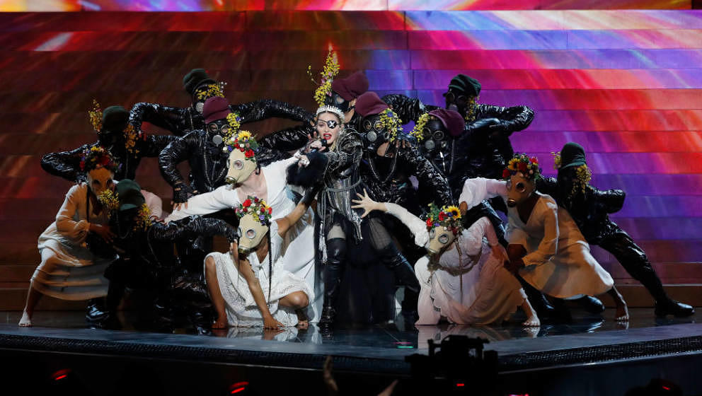 TEL AVIV, ISRAEL - MAY 18: Madonna, performs live on stage after the 64th annual Eurovision Song Contest held at Tel Aviv Fai