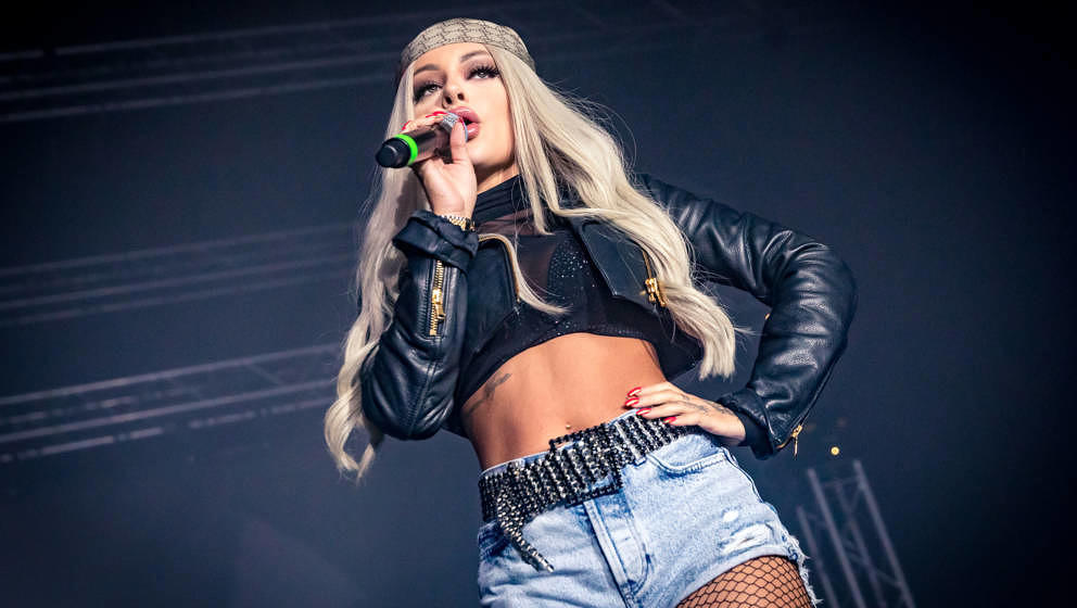 WUERZBURG, GERMANY - FEBRUARY 08: (BILD ZEITUNG OUT) Katja Krasavice performs at Posthalle on February 8, 2020 in Wuerzburg,