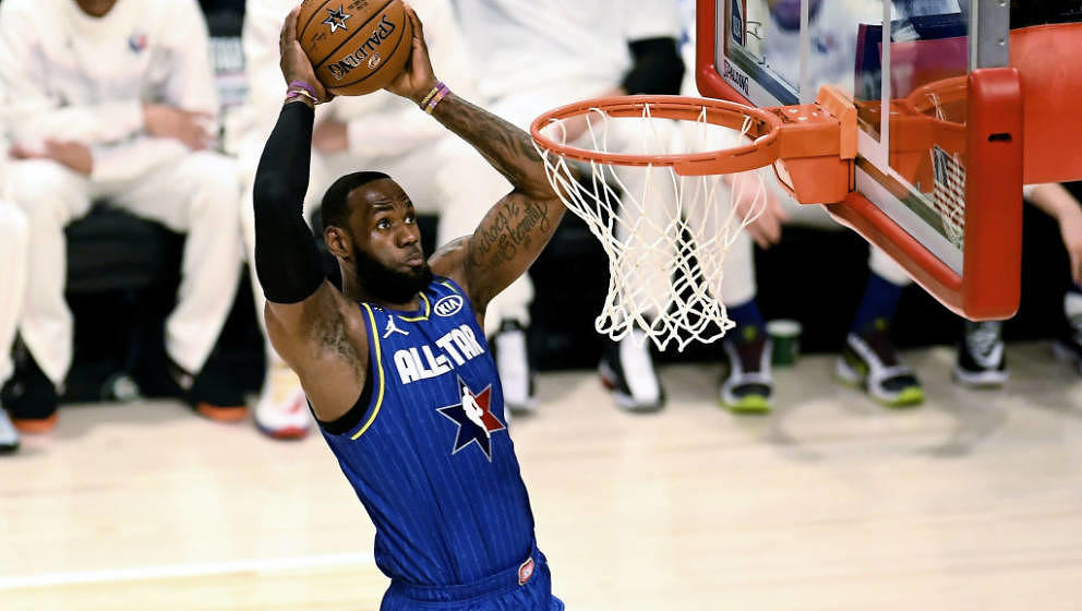 CHICAGO, ILLINOIS - FEBRUARY 16: LeBron James #2 of Team LeBron dunks the ball in the first quarter ah during the 69th NBA Al