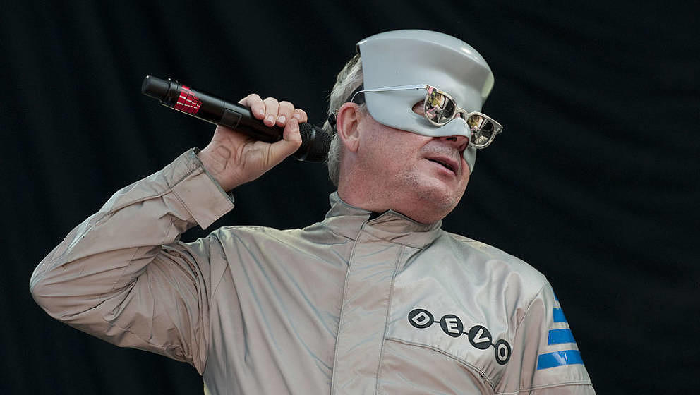 CHICAGO - AUGUST 06: Mark Mothersbaugh of Devo performs on stage at Lollapalooza Festival at Grant Park on August 6, 2010 in