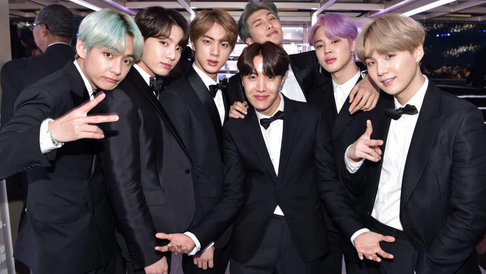 LOS ANGELES, CA - FEBRUARY 10:  South Korean boy band BTS backstage during the 61st Annual GRAMMY Awards at Staples Center on