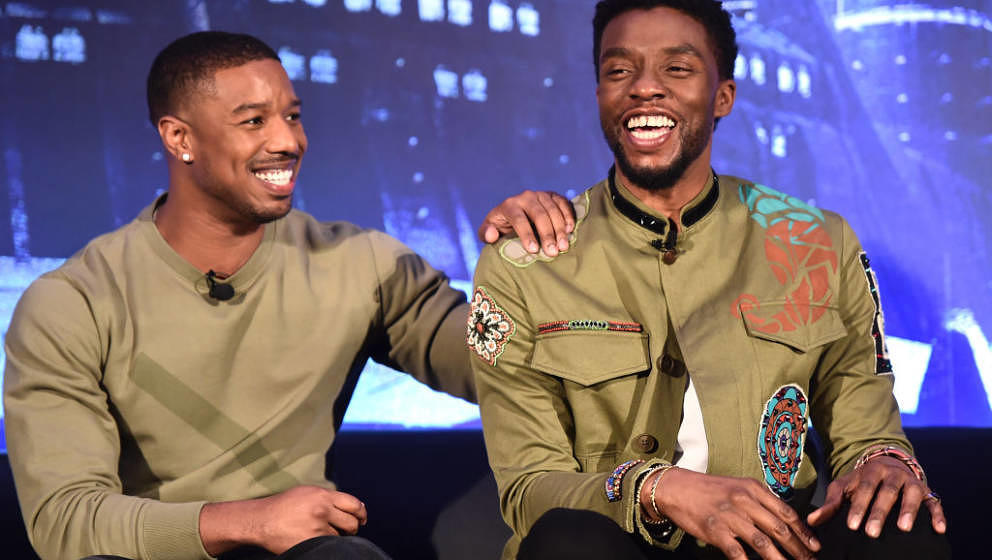 BEVERLY HILLS, CA - JANUARY 30: Actors Michael B. Jordan (L) and Chadwick Boseman attend the Marvel Studios' BLACK PANTHER Gl