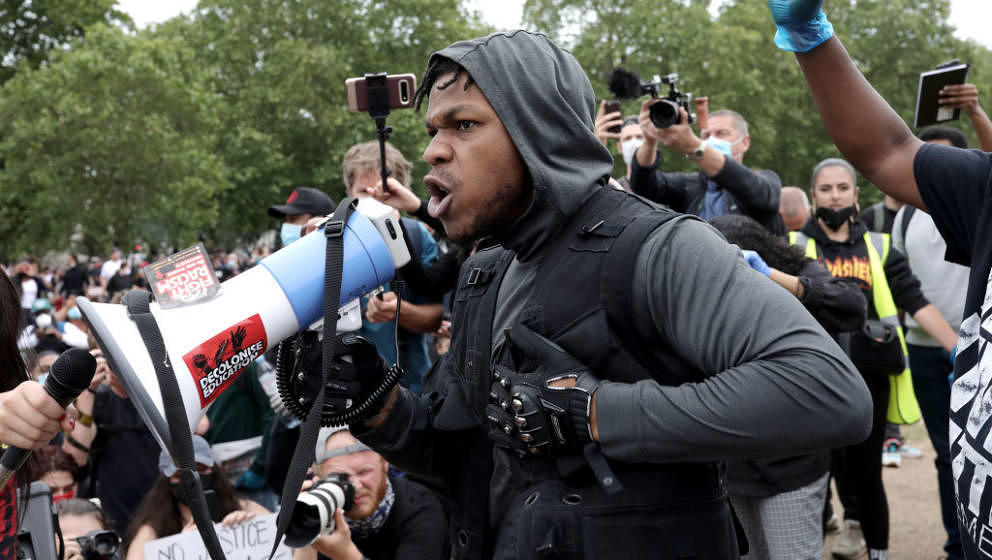 LONDON, ENGLAND - JUNE 03: Actor John Boyega speaks to the crowd during a Black Lives Matter protest in Hyde Park on June 3,