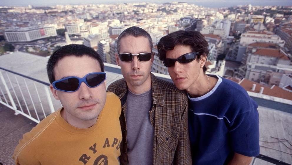 Beastie Boys, group portrait, Portugal, 1998. L to R: Ad Rock (Adam Horowitz), MCA (Adam Yaunch) and Mike D (Mike Diamond). (