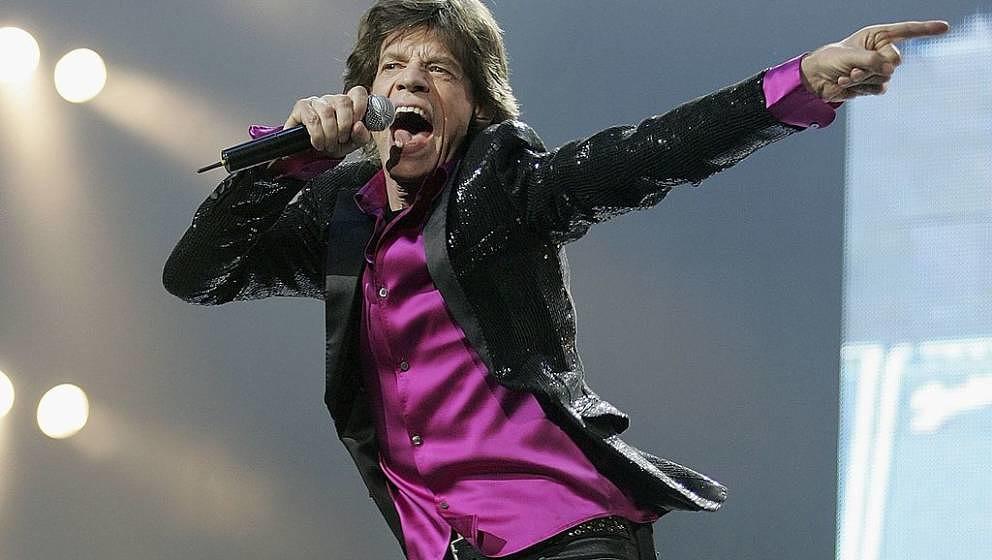SAITAMA, JAPAN - APRIL 2:  Mick Jagger of The Rolling Stones performs during a concert at Saitama Super Arena on April 2, 200