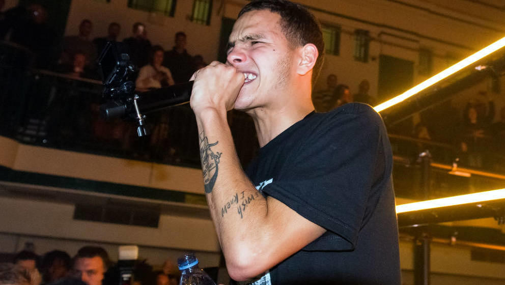 LONDON, ENGLAND - APRIL 01: Slowthai performs on stage at York Hall on April 01, 2019 in London, England. (Photo by Matthew B