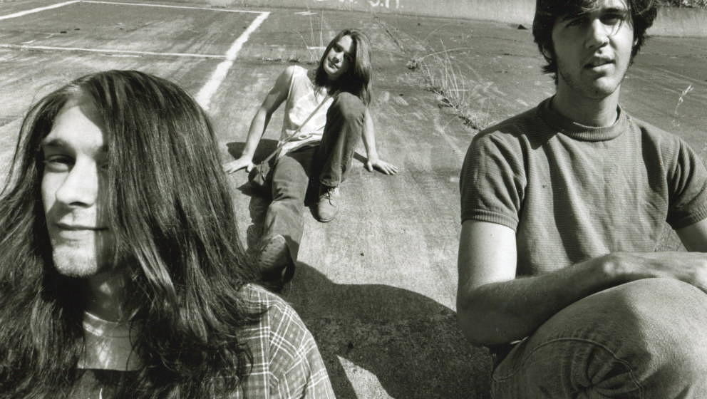Group portrait of American grunge band Nirvana in Seattle, circa 1989. L-R Kurt Cobain, Chad Channing, Krist Novoselic. (Phot