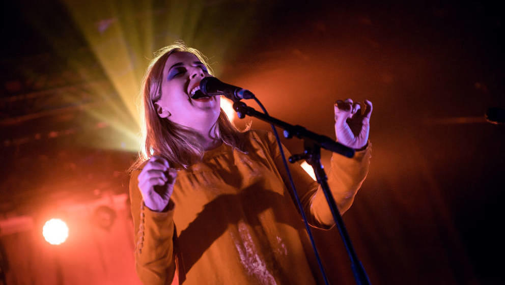 BERLIN, GERMANY - MARCH 13:  Singer Katie Stelmanis of Austra performs live on stage during a concert at Astra on March 13, 2
