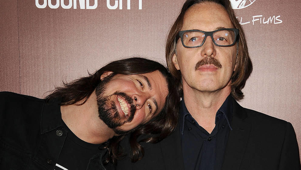HOLLYWOOD, CA - JANUARY 31:  Dave Grohl and Butch Vig attend the premiere of 'Sound City' at ArcLight Cinemas Cinerama Dome o