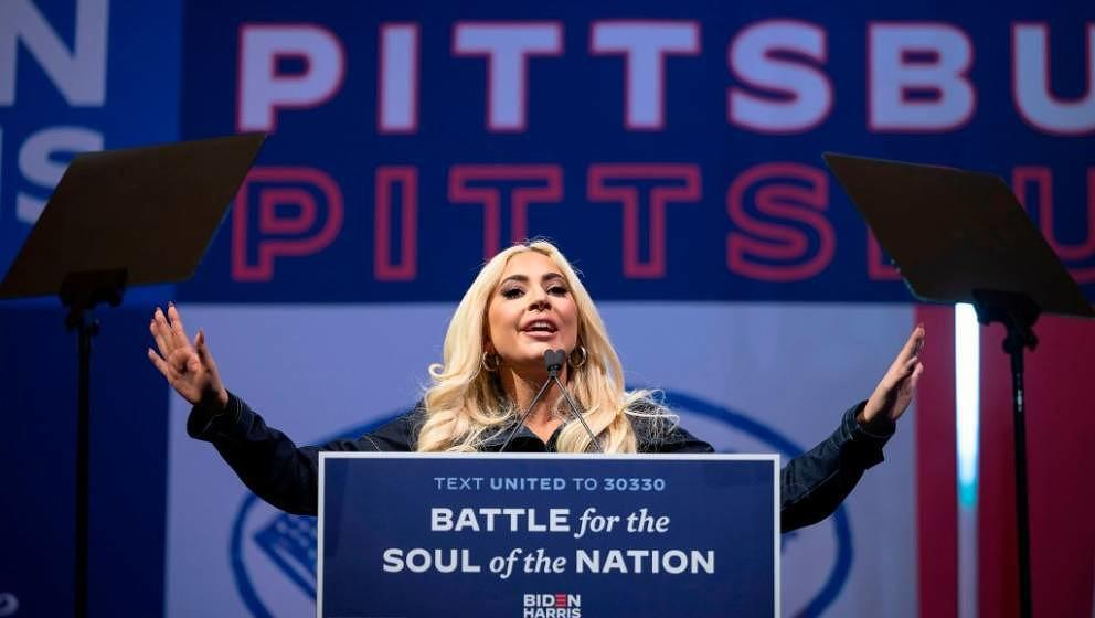 US singer Lady Gaga speaks prior to Democratic Presidential candidate and former US Vice President Joe Biden speaking during