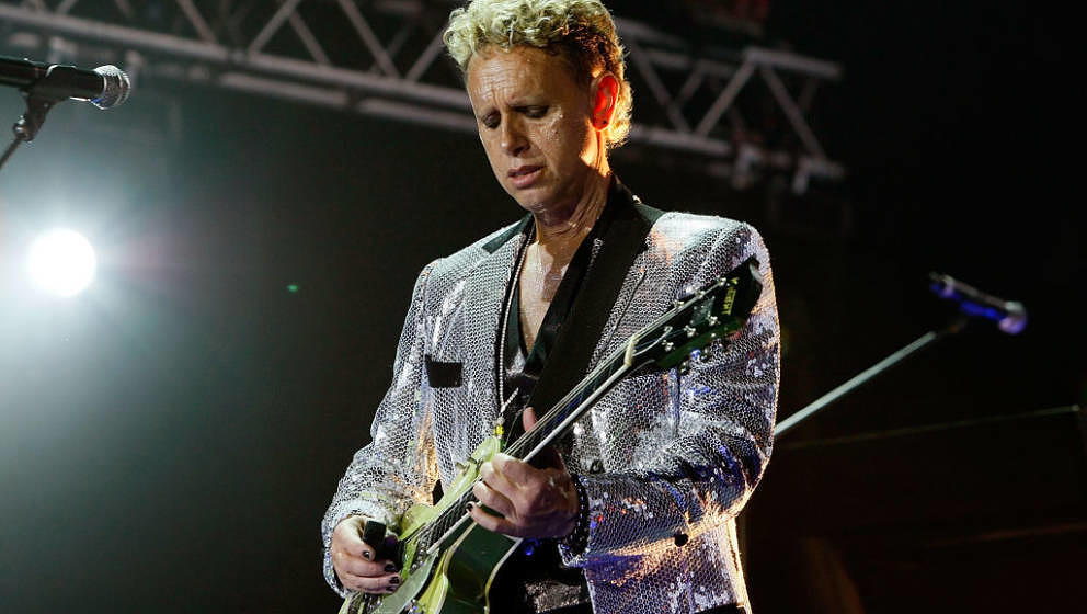 LONDON, ENGLAND - DECEMBER 15:  Martin Gore of Depeche Mode perform on stage at the O2 Arena on December 15, 2009 in London,