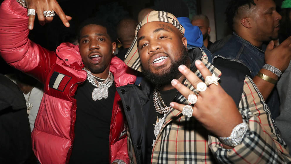 LOS ANGELES, CALIFORNIA - JANUARY 24: (L-R) YFN Lucci and Mo3 attend EMPIRE Celebrates The Grammys at The Reserve on January