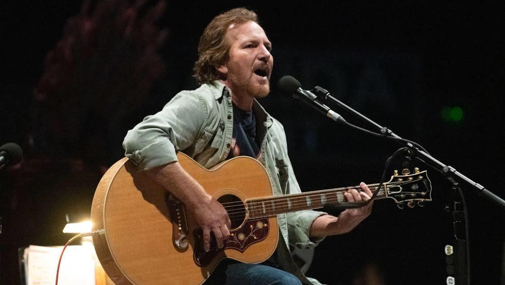 MADRID, SPAIN - JUNE 22: Singer-songwriter and guitarist Eddie Vedder performs live onstage at Wizink Center on June 22, 2019