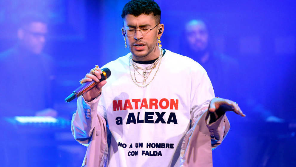 THE TONIGHT SHOW STARRING JIMMY FALLON -- Episode 1214 -- Pictured: Musical guest Bad Bunny & Sech (not pictured) perform