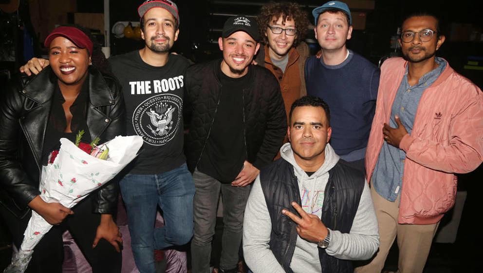 NEW YORK,NEW YORK - OCTOBER 25: (EXCLUSIVE COVERAGE) Aneesa Folds, Lin-Manuel Miranda, Anthony Ramos and Christopher Jackson