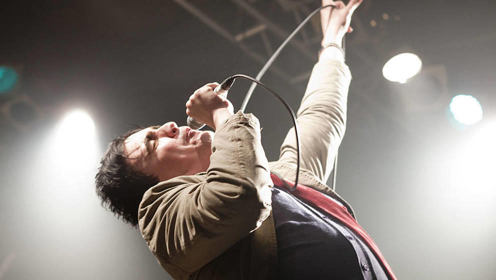 LONDON, UNITED KINGDOM - MAY 07: Eddie Argos of Art Brut perform on stage at Electric Ballroom on May 7, 2009 in London, Engl