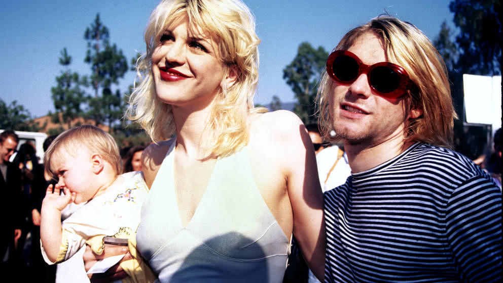 UNITED STATES - SEPTEMBER 02:  Kurt Cobain, Courtney Love and baby Frances Bean attending the 1993 MTV Music Video Awards in